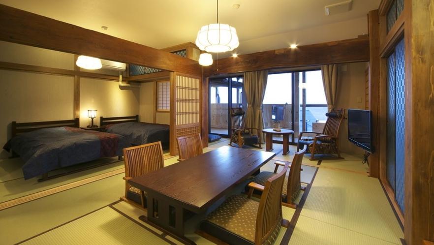 【本館 古民家 あじさい】1階 ベッド付 9畳和室 個室露天風呂付