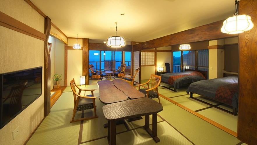 【本館 古民家 あやめ】2階角 ベッド付 12畳和室 個室露天風呂付