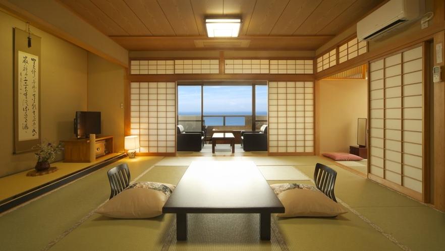 【本館 葵】2階南角 一番広い 15畳+6畳 次の間付 個室露天風呂付