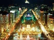 テレビ塔展望台から大通公園の夜景眺望