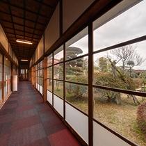*【館内/廊下】庭園の緑の景色が飛び込んで来る1階の廊下。