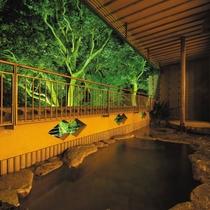 立木に照明があたる夜景は幻想的で心があたたまります「岩露天風呂」