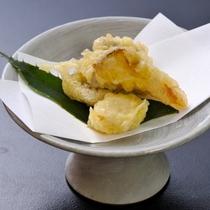 【揚げ物】松茸 太刀魚 栗衣揚げ 檸檬塩