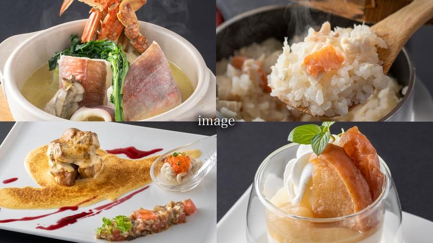 ご夕食ディナー例)季節によって変わる伊豆の海の幸・山の幸と和洋折衷ディナー