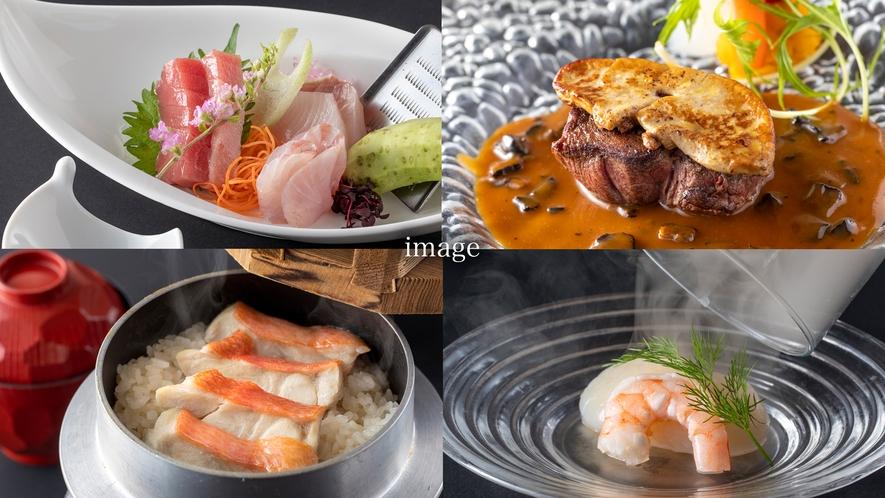 ご夕食一例。伊豆の四季折々の味覚をたっぷりご用意しています。季節ごとのメニューをお愉しみください。