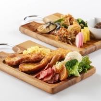 【モーニング】和洋ビュッフェ盛り付け例【前:洋食盛り付け例、後:和食盛り付け例】