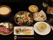 チーズフォンジュ付き近江牛フィレ陶板焼き