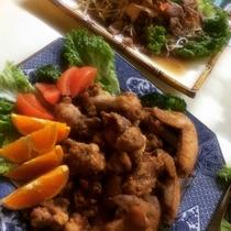 夕食(チキンカツ&野菜炒め)