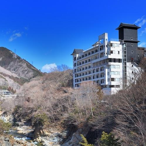 鬼怒川からの当館全景