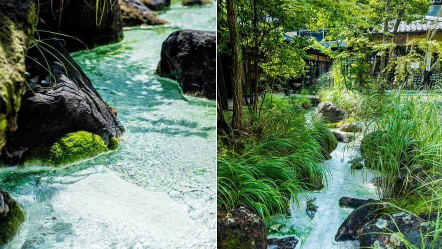*【敷地内】敷地内を流れる小川には温泉成分が溶け込み、まるで白い絵具で彩色されたよう。
