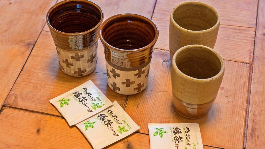 *客室一例/益子焼きの器で温かいお茶を飲んで、益子時間をお過ごし下さい。
