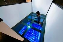 Room1「天空の庭」(2F)ガラスの上にお布団を敷いてお休みいただきます