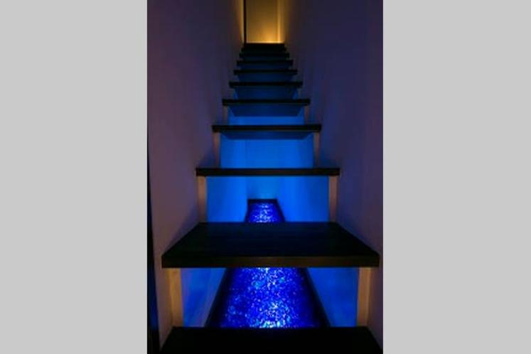 Room1「天空の庭」 1Fから2Fへ。階段の下にも作品が広がっています