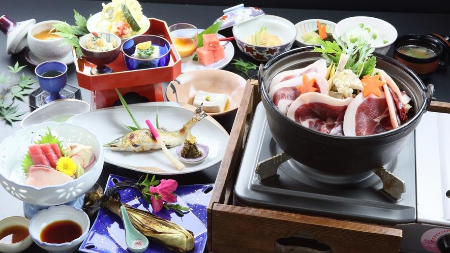 【猪鍋プラン】味がしっかりと染み込んだ猪鍋と様々な豆腐料理を味わう♪大山を満喫出来るプラン!