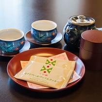 *【部屋】お部屋では山形産「つや姫」で作られたお菓子などとお茶をご用意させて頂いてます。