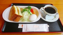 *トースト+ゆで卵。3種類のメニューからお好きなセットをお選びください