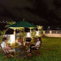 *広いパティオでBBQ!沖縄ならではの食材をご用意いたします。