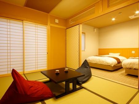 【閑吟の離れ】客室風呂付きの和洋室ツインベッド
