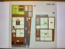 町家つばら五条坂  見取り図、二階建の小さな町家です。  Tsubara floor plan