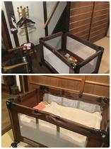 ベビーサークルを用意しました。バシネットを付けると赤ちゃんのお昼寝もできます。