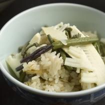 【夕食例】季節の野菜と山形のお米を合わせた炊き込みご飯