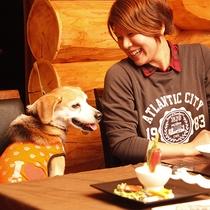 ワンちゃんと一緒の食事風景