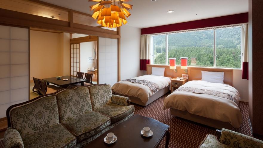 【エグゼクティブデラックス】65m2+和室8畳とスイートの次に広いお部屋、ごゆっくりとお寛ぎくださ
