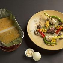 豊後牛と春野菜の炙り  蕗の薹味噌と鶏味噌