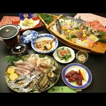 【舟盛+洋風海鮮】 豪華な魚介類を炭火焼きでじっくりと♪さらに豪華舟盛がついて春の京丹後大満喫♪