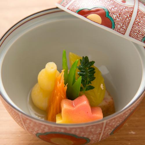 【京会席一例】小鉢:地場野菜の炊合せ