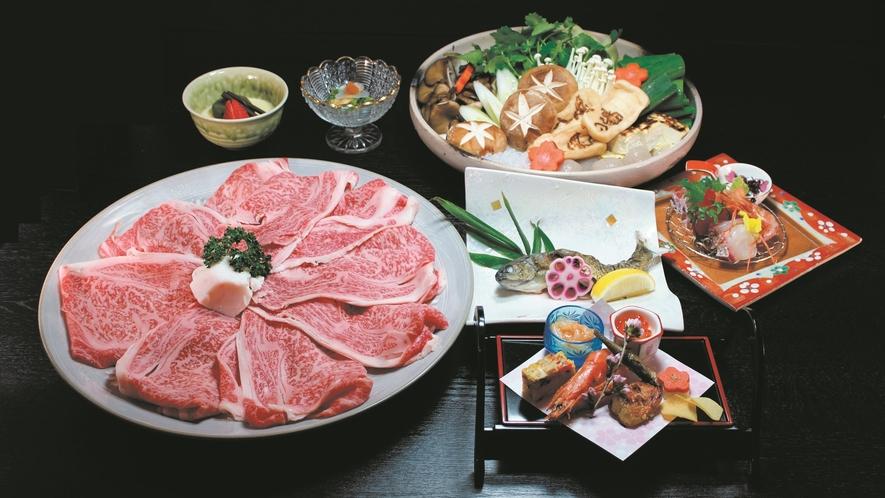 *【近江牛すき焼き】近江牛をはじめ、新鮮なイワナの塩焼きもご用意いたします。