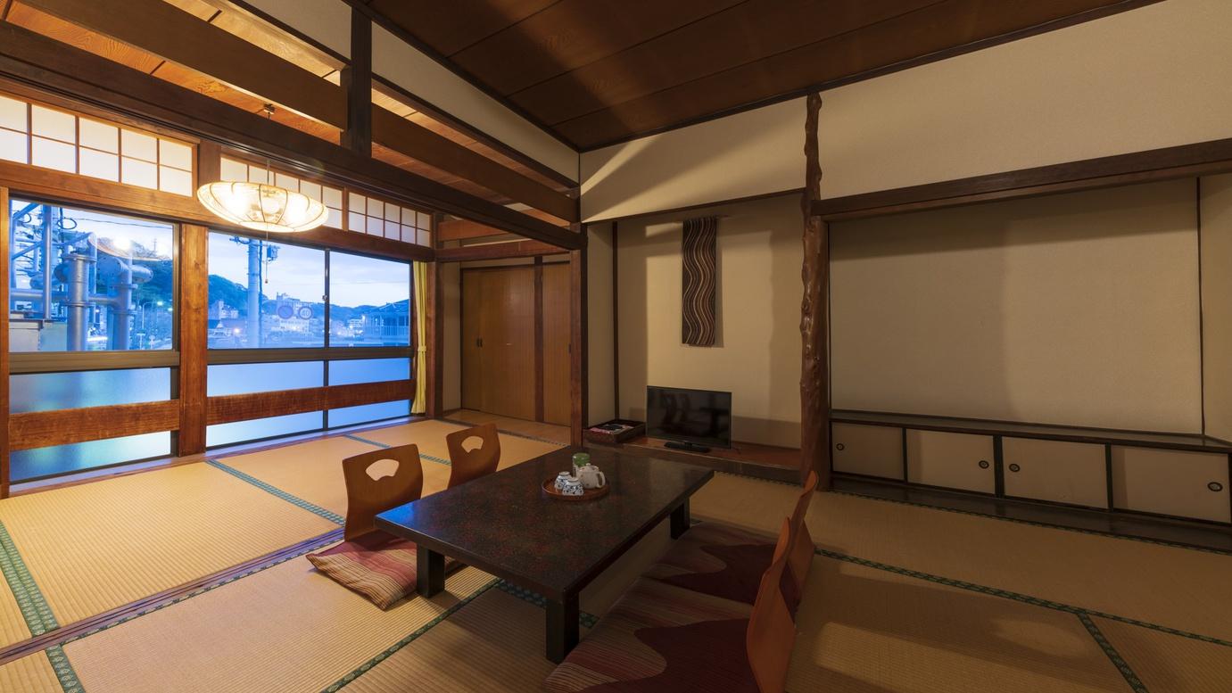 *【客室一例:和室12畳】畳の香りがほのかに薫るお部屋で、団欒のひと時をお過ごし下さい♪