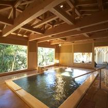 *日帰り入浴施設「スパ月美」大浴場(男湯 ヒノキ風呂)*利用有料