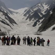 ■夏での雪渓の上はまるで天然の冷蔵庫のように涼しい(大雪渓)