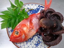 金目鯛とタコ