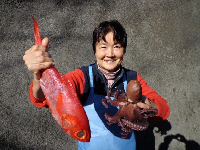 新鮮な金目鯛とタコを獲ったどー