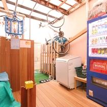 喫煙スペースと洗濯スペース