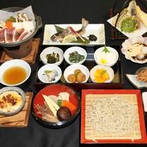 【夕食一例】利賀村の食材を使った山里ならではの懐石料理