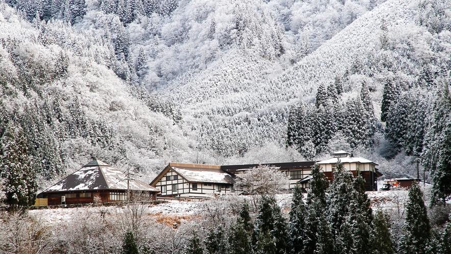 冬の訪れの天竺温泉の郷