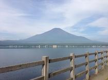 夏のサイクリングロードと富士山