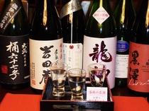 【名酒】料理に合わせて、オーナー選りすぐりの地酒も楽しめます。