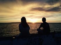 宿の前の桟橋は夕日の絶景スポットです。