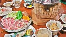 *【お食事一例】地鶏と黒毛和牛の炭火焼きがメインの田舎料理です。