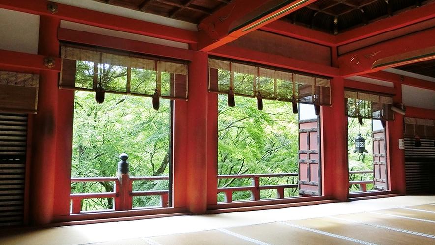 談山神社 拝殿より 当館すぐ裏の談山神社。秋は紅葉、夏は美しい新緑♪