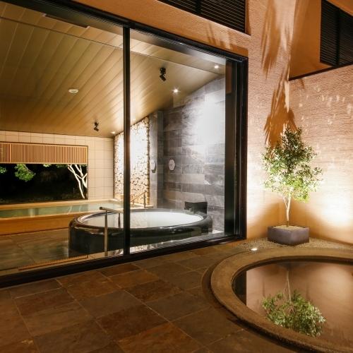 【恵みの湯】天然温泉とミキモト コスメティックス社と共同開発した3つの湯めぐりをお愉しみいただけます