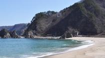 【普代浜】当館より車で約10分。南北600mの白い砂浜と青い海がキレイです。