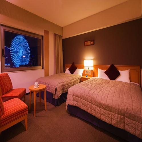 ■デラックスツイン■28.8平米・ダブルベット1台×セミダブルベット1台のお部屋。横浜が誇る極上の夜