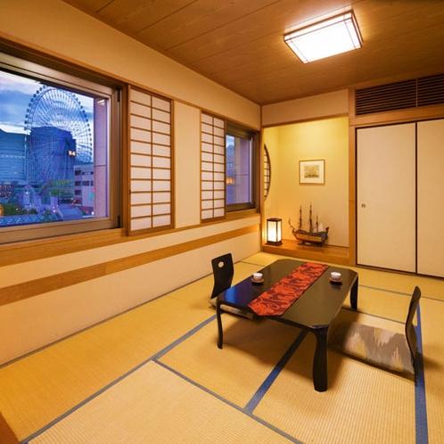 ■和室12畳■裸足でゆったりゴロゴロできるのんびり空間。横浜が誇る極上の夜景を