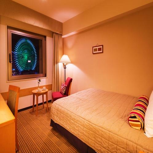 ■ダブル■19.2平米・ベット幅152センチのダブルベット1台のお部屋。横浜が誇る極上の夜景を。