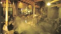 讃水館1階大浴場 露天風呂(夜)